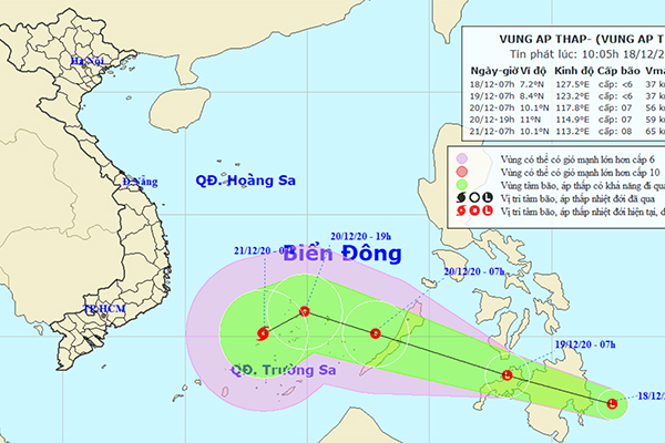 Xuất hiện vùng áp thấp, khả năng thành bão khi vào Biển Đông thumbnail