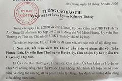 Chủ nhiệm UB Kiểm tra Huyện ủy ở An Giang bị kỷ luật