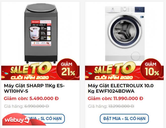 Máy giặt 10-11kg ồ ạt bán rẻ cuối năm, nhiều mẫu ngấp nghé 5 triệu đồng