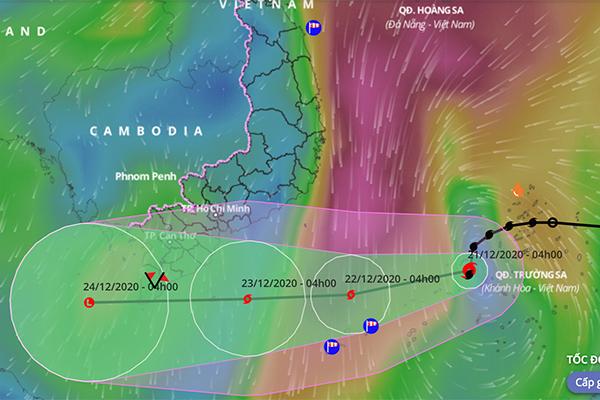 Bão số 14 hướng về Cà Mau - Kiên Giang, Nam Bộ ngày mai có mưa