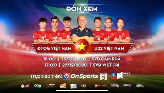Xem trực tiếp ĐT Việt Nam vs U22 Việt Nam ở kênh nào?
