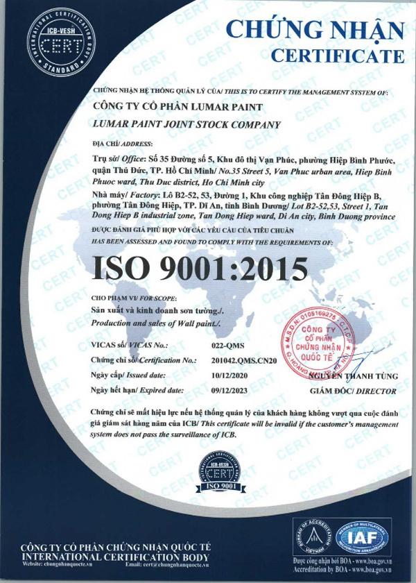 Lumar Paint đạt chứng nhận ISO 9001:2015