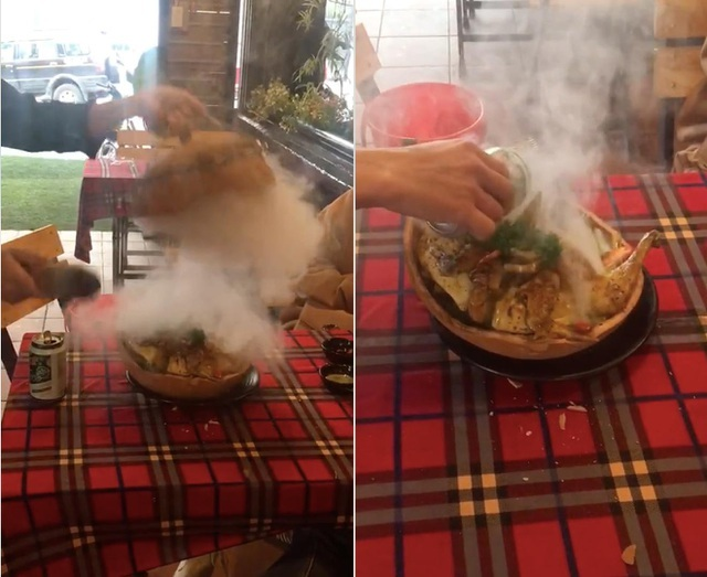Lạ lùng gà nướng đá núi lửa ở Đà Lạt, thực khách ăn phải dùng búa đập niêu
