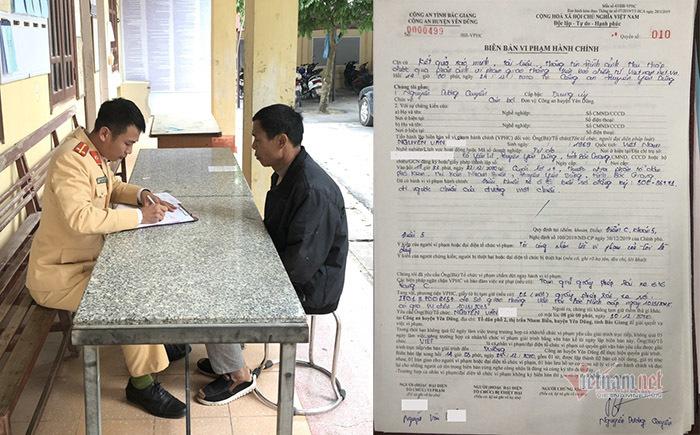 """Bắc Giang: Tài xế đi ngược chiều """"đấu đầu"""" container bị phạt nguội 4 triệu"""