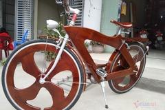 Thợ mộc Thái Nguyên chế xe đạp gỗ 12kg giá 14 triệu đồng
