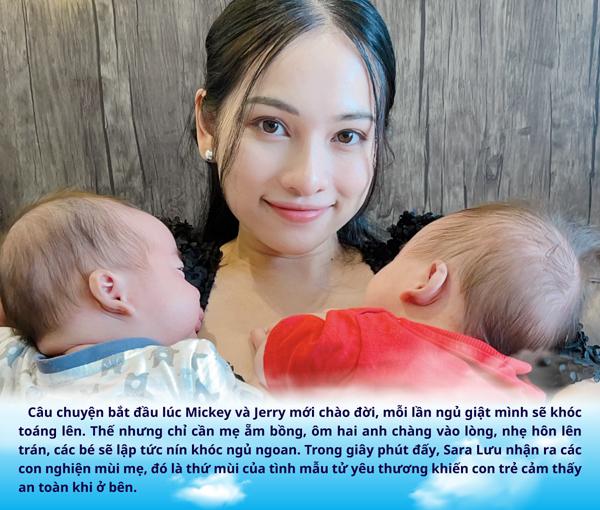 Bà xã Dương Khắc Linh bật mí lý do cặp sinh đôi luôn 'ghiền' mùi mẹ