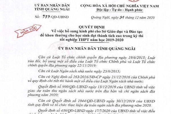 Quảng Ngãi quyết định cấp lại 3,5 tỷ khen thưởng cho học sinh