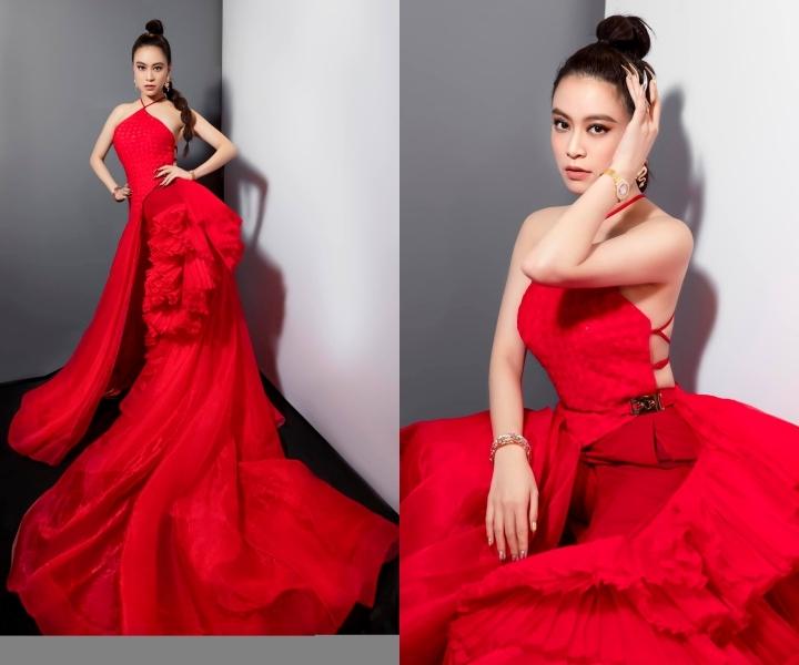 Hoàng Thuỳ Linh, Ngọc Trinh quyến rũ với đầm đỏ cắt xẻ táo bạo