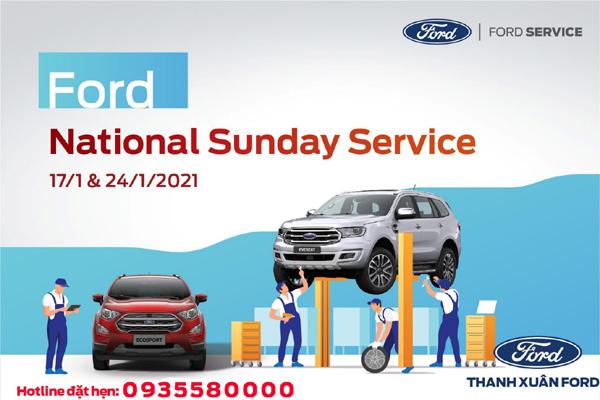 Ưu đãi chăm sóc xe trong dịch vụ Ngày Chủ Nhật ở Thanh Xuân Ford