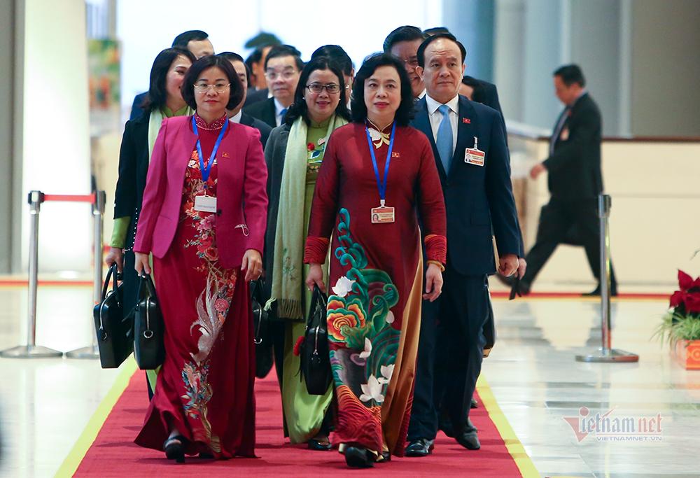 Các đại biểu đến dự phiên họp trù bị Đại hội XIII của Đảng.