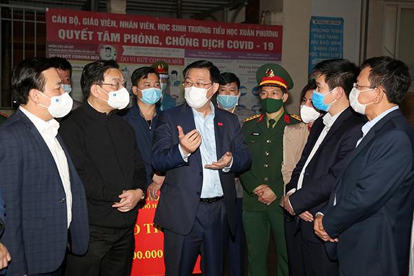 Bí thư Hà Nội kiểm tra đột xuất việc chống dịch tại quận Nam Từ Liêm