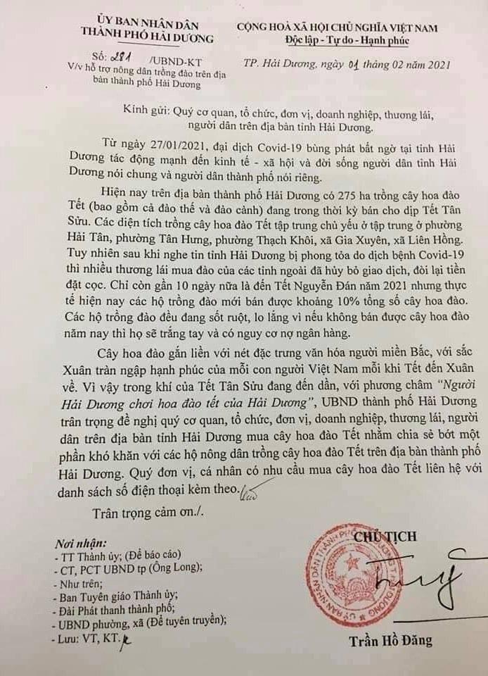 Đào ế đầy đồng vì Covid-19, Chủ tịch TP Hải Dương gửi tâm thư cứu nguy