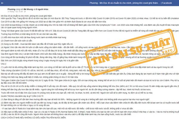 Thông tin 'điều trị Covid-19 tại nhà' trên Facebook là sai sự thật