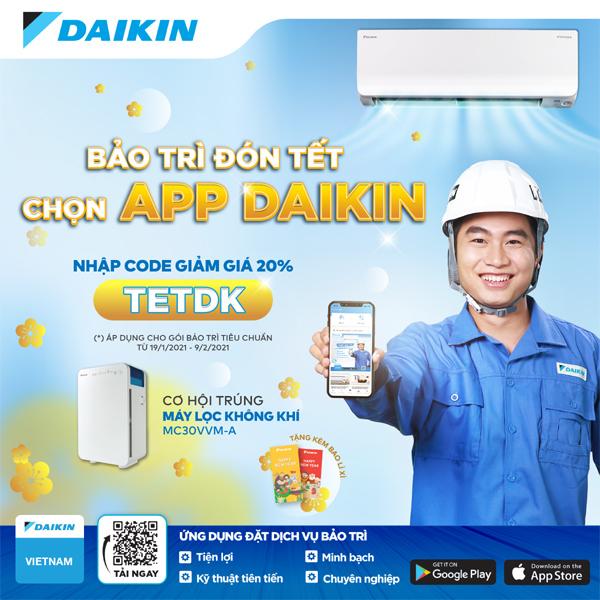 Daikin giảm 20% dịch vụ bảo trì máy lạnh khi đặt lịch qua app