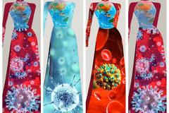 Nhật Dũng thiết kế áo dài mang thông điệp chống dịch Covid-19