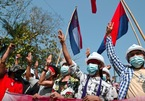 Pictures of thousands of protesters taking to the streets in Myanmar