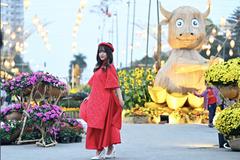 Áo dài rực rỡ khắp đường hoa Home Hanoi Xuan