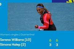 Serena Williams đè bẹp Halep ở tứ kết Úc Mở rộng