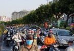 Crowded streets of Saigon on the first working day after Tet