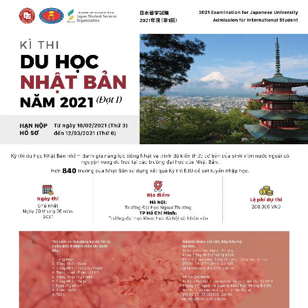 Kỳ thi Du học Nhật Bản EJU đợt 1 năm 2021