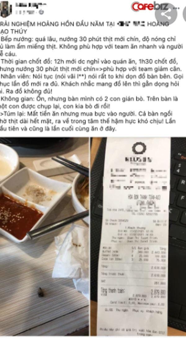 Chuỗi nhà hàng buffet lẩu nướng nổi tiếng ở Hà Nội bị tố vì phục vụ lâu, nhân viên nói bậy, thái độ đuổi khách, lại còn có... gián