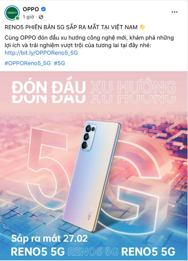 Oppo ra mắt smartphone 5G ngày 27/2