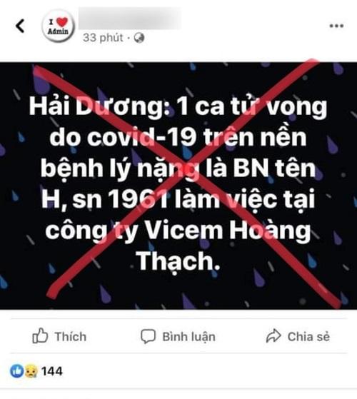 Hải Dương bác tin đồn có ca Covid-19 tử vong