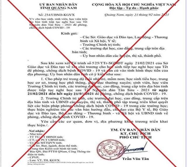 Điều tra kẻ làm giả văn bản UBND tỉnh cho học sinh nghỉ đến 21/3