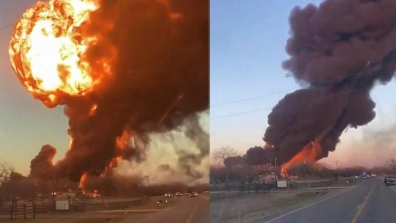Cảnh tượng kinh hoàng khi tàu hàng đâm xe tải ở Texas