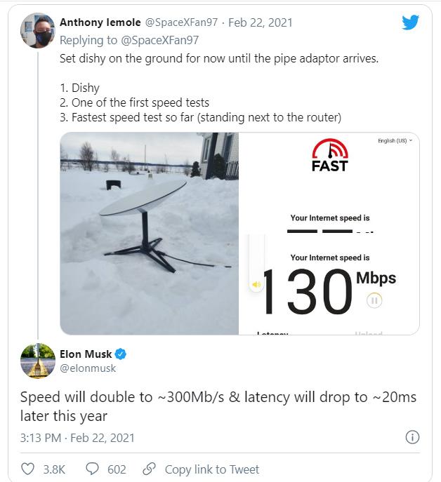 Elon Musk: Tốc độ Internet vệ tinh Starlink tăng gấp đôi trong năm nay