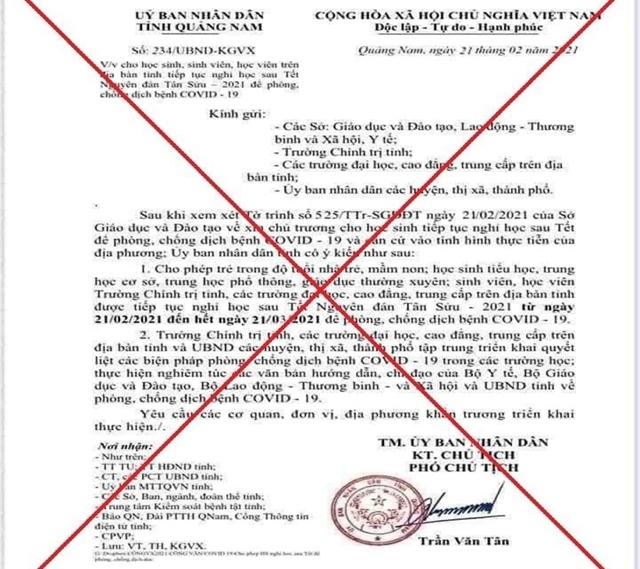 Nam sinh lớp 9 làm giả văn bản UBND tỉnh Quảng Nam cho nghỉ học