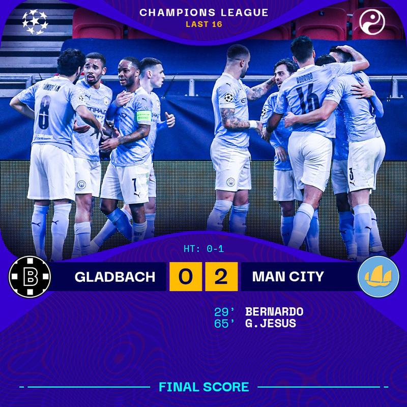 Thổi bay Gladbach, Man City đặt một chân vào tứ kết