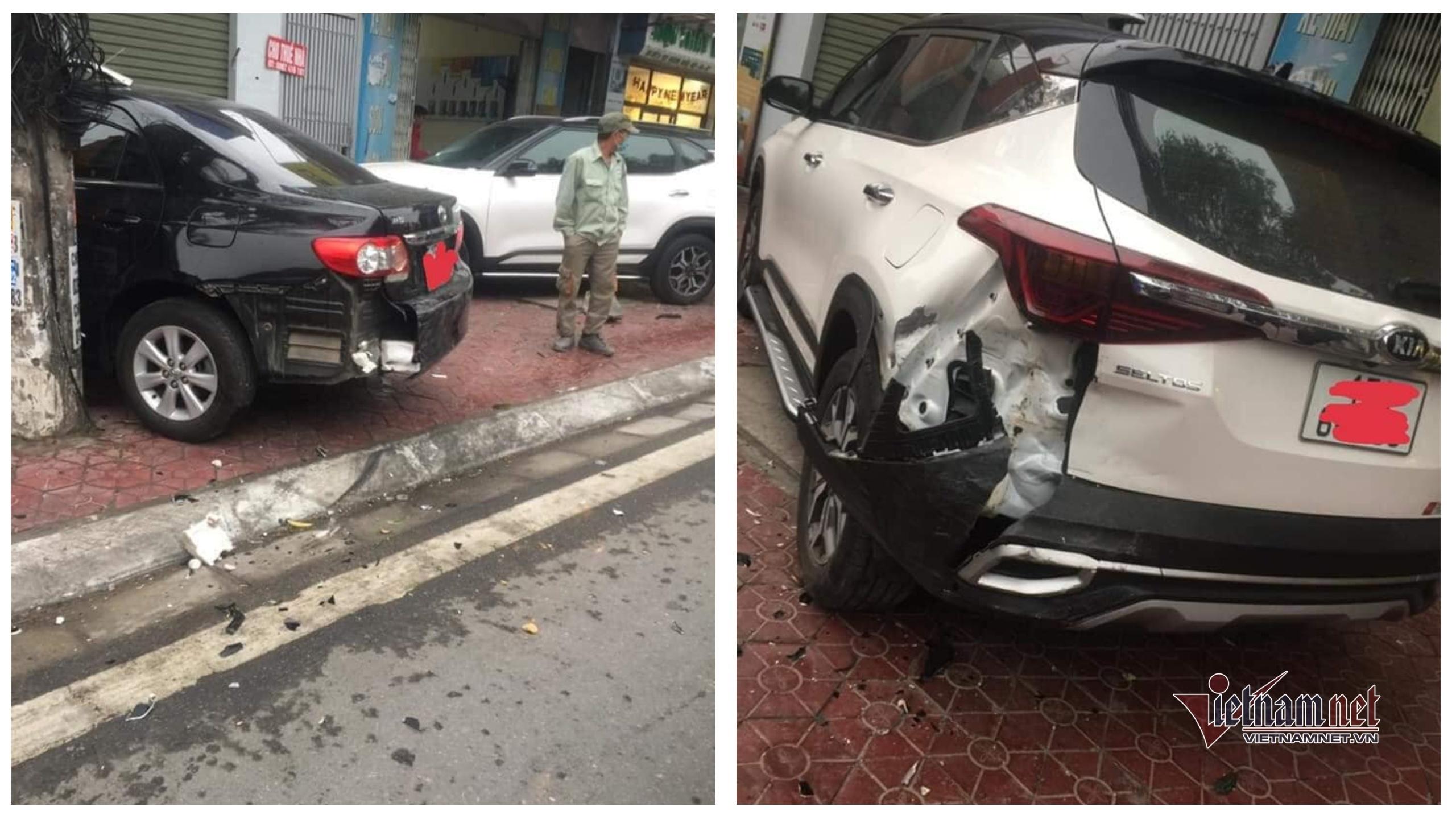 Ford Escape bỏ chạy sau khi đâm nát đuôi 2 ô tô đỗ vỉa hè ở Hải Phòng
