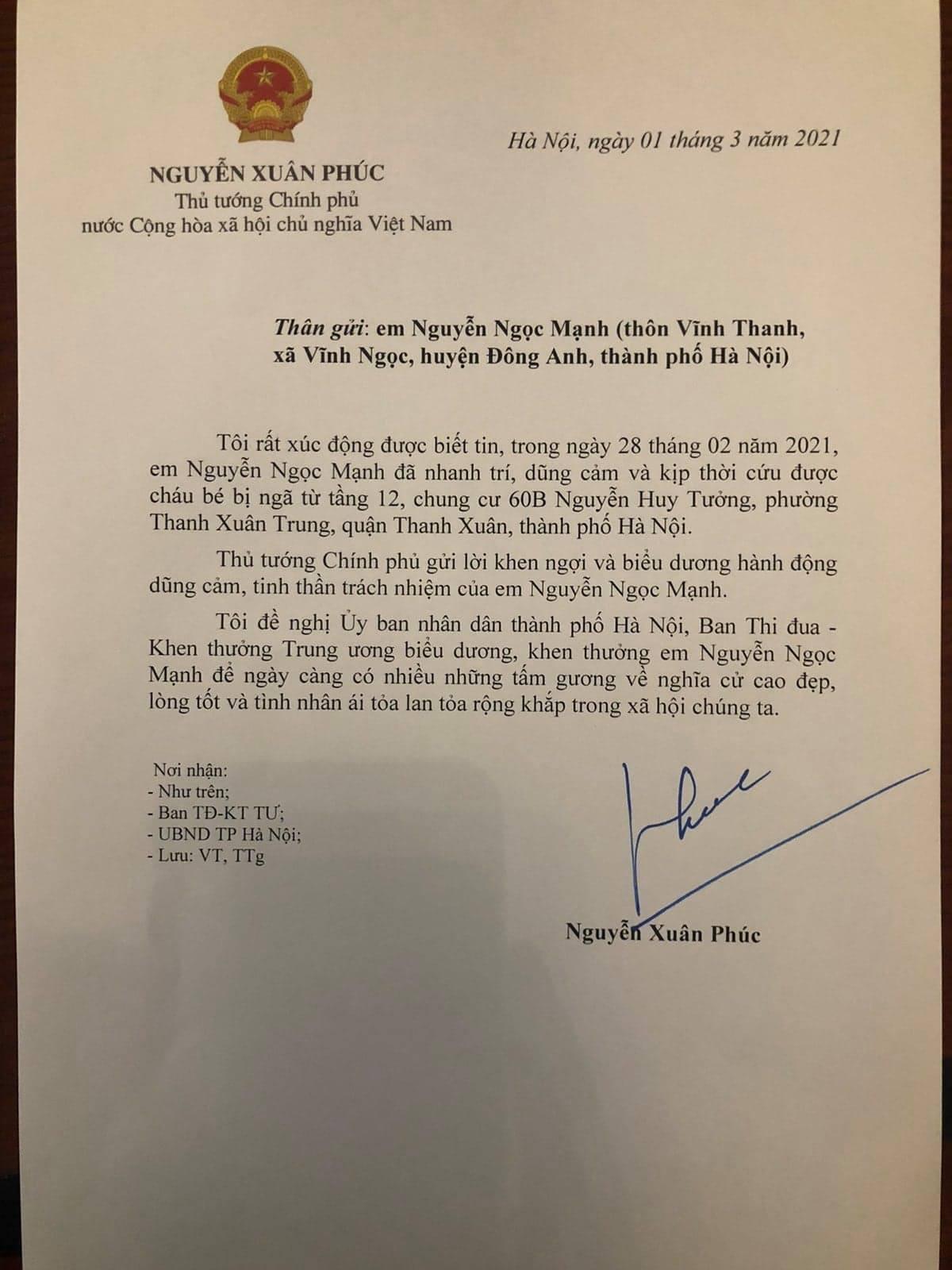 Thủ tướng xúc động trước sự nhanh trí, dũng cảm của anh Nguyễn Ngọc Mạnh