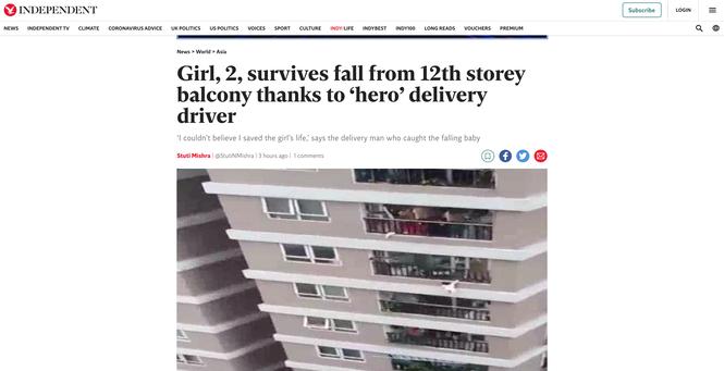 'Người hùng' cứu bé gái rơi từ tầng 12A lên báo nước ngoài