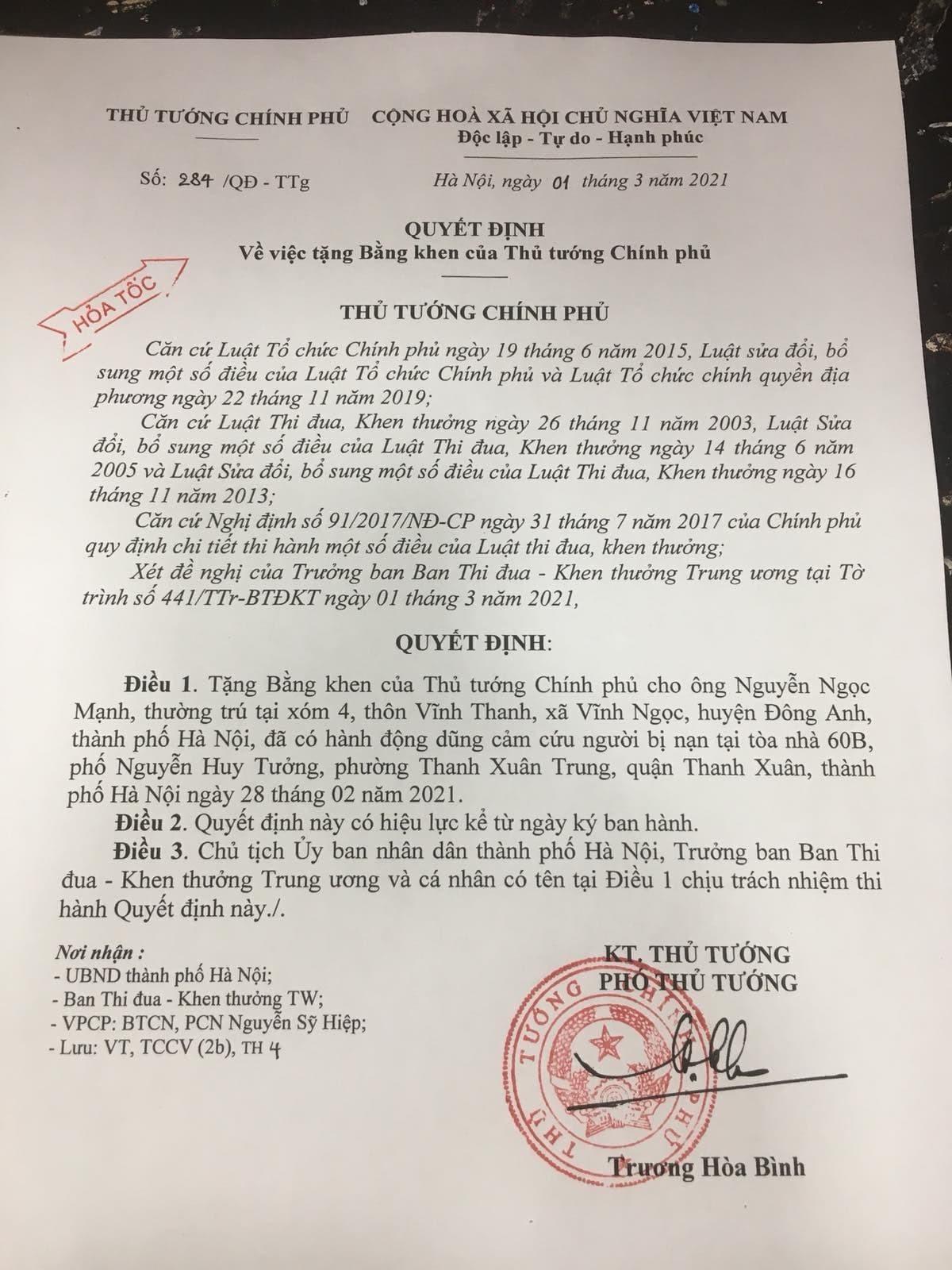 Quyết định tặng bằng khen của Thủ tướng đối với anh Nguyễn Ngọc Mạnh