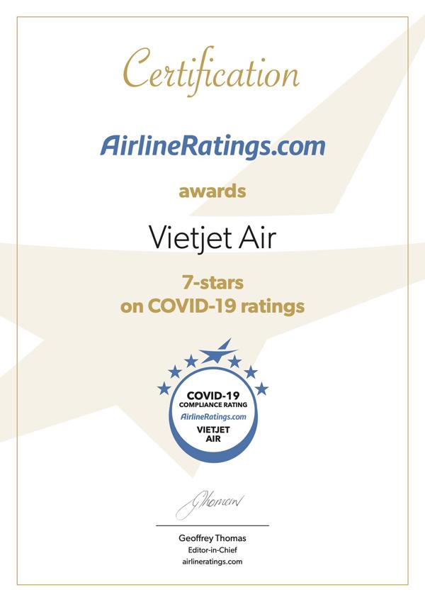 Vietjet đạt chứng nhận quốc tế cao nhất về phòng chống Covid-19