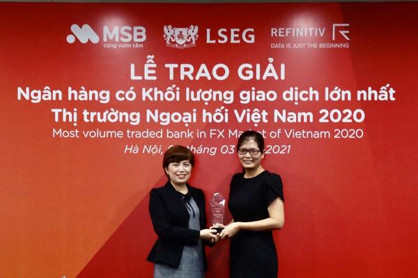 MSB được vinh danh là ngân hàng có khối lượng giao dịch ngoại hối lớn nhất Việt Nam