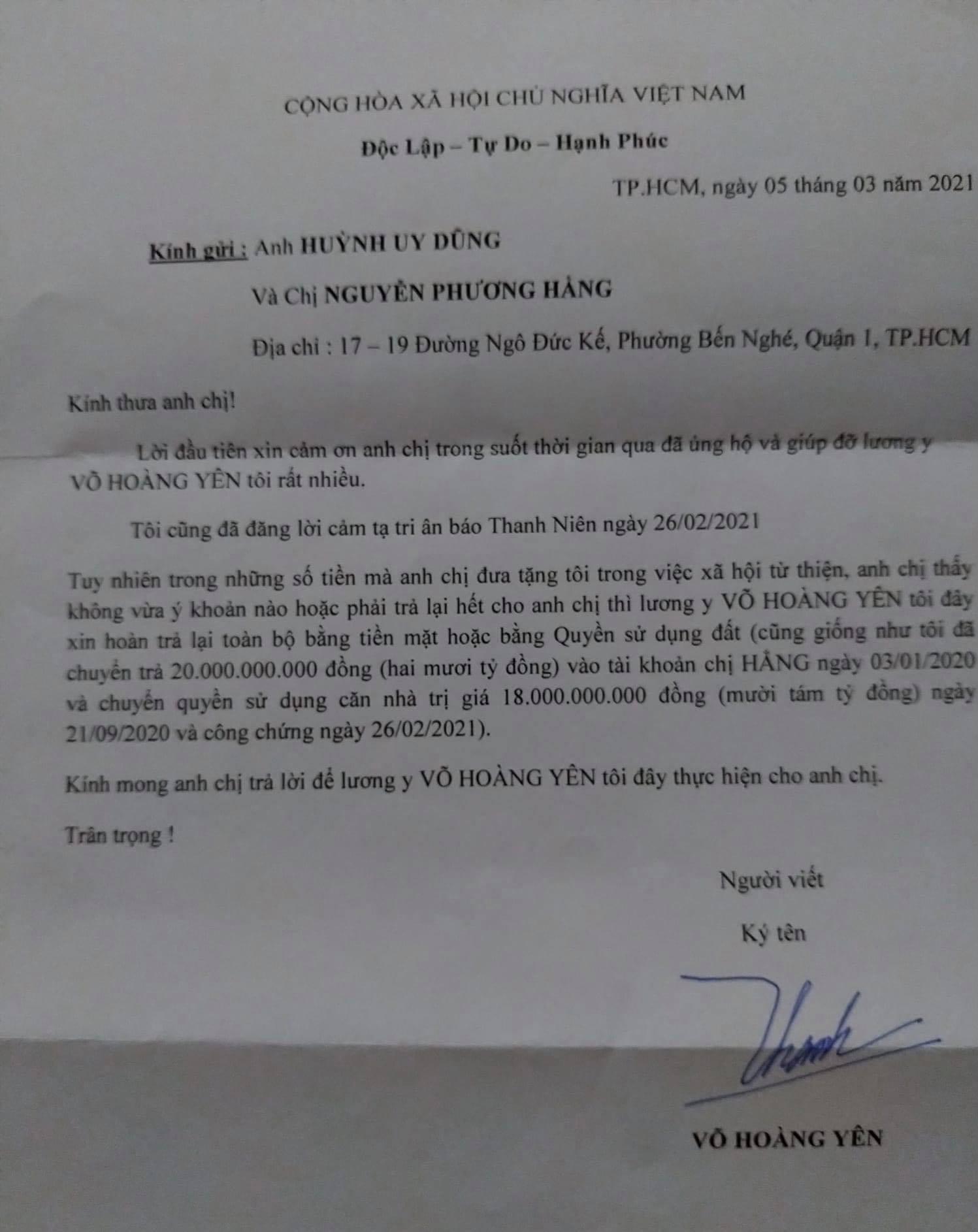 """Ông Võ Hoàng Yên gửi thư xin trả lại tiền cho vợ chồng đại gia Dũng """"lò vôi"""""""