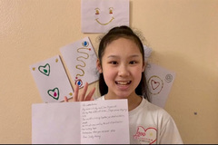 Vietnamese kids in the UK make greeting cards for the elderly