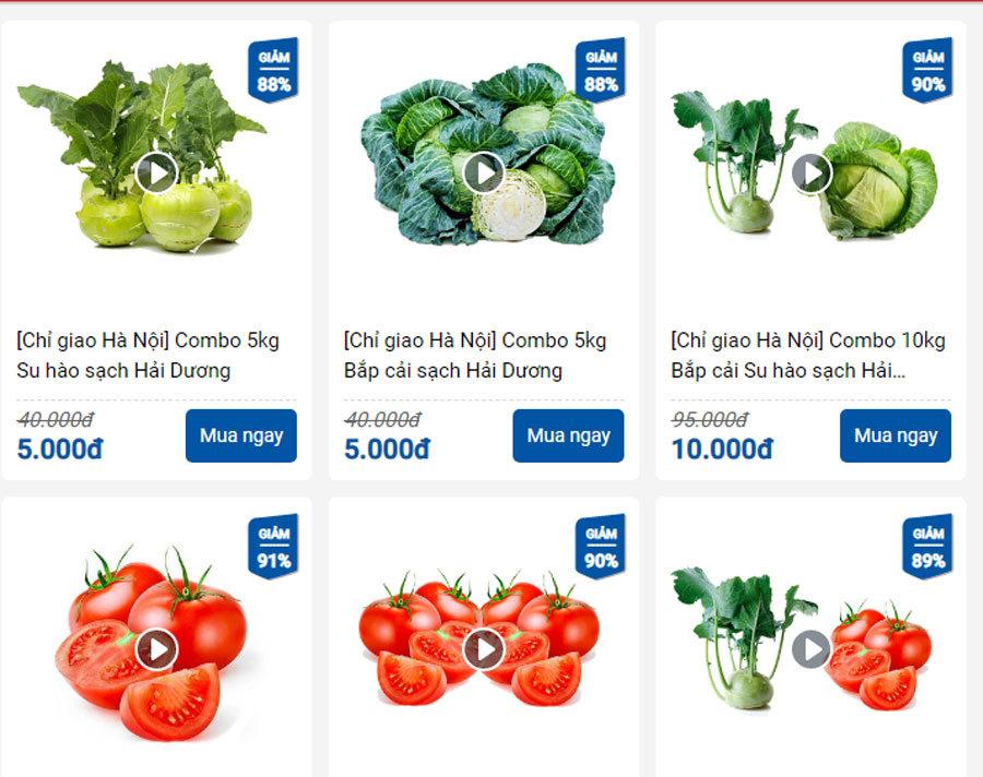 Bắp cải, cà chua 1 nghìn đồng/kg, ship tận bếp chỉ 9 nghìn đồng