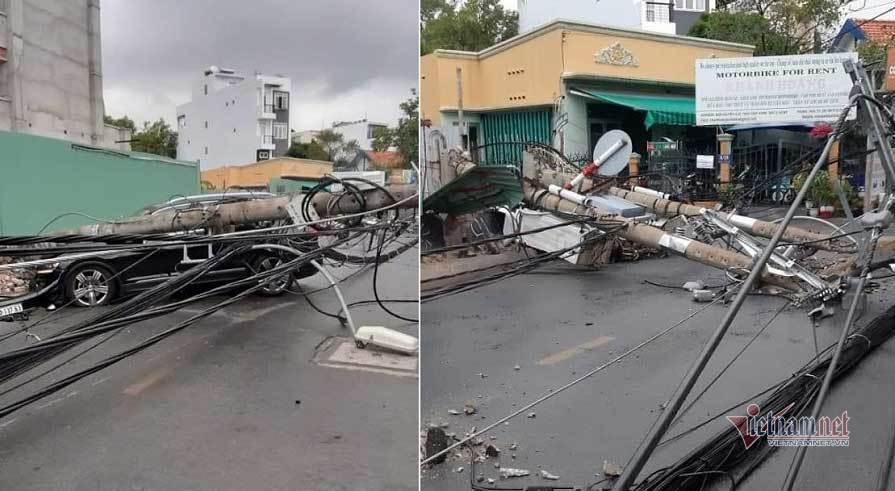 Người nước ngoài lái ôtô tông ngã loạt cột điện ở khu Thảo Điền