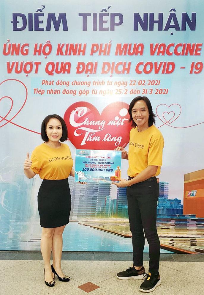 Vợ chồng Việt Hương ủng hộ 200 triệu mua vaccine Covid-19