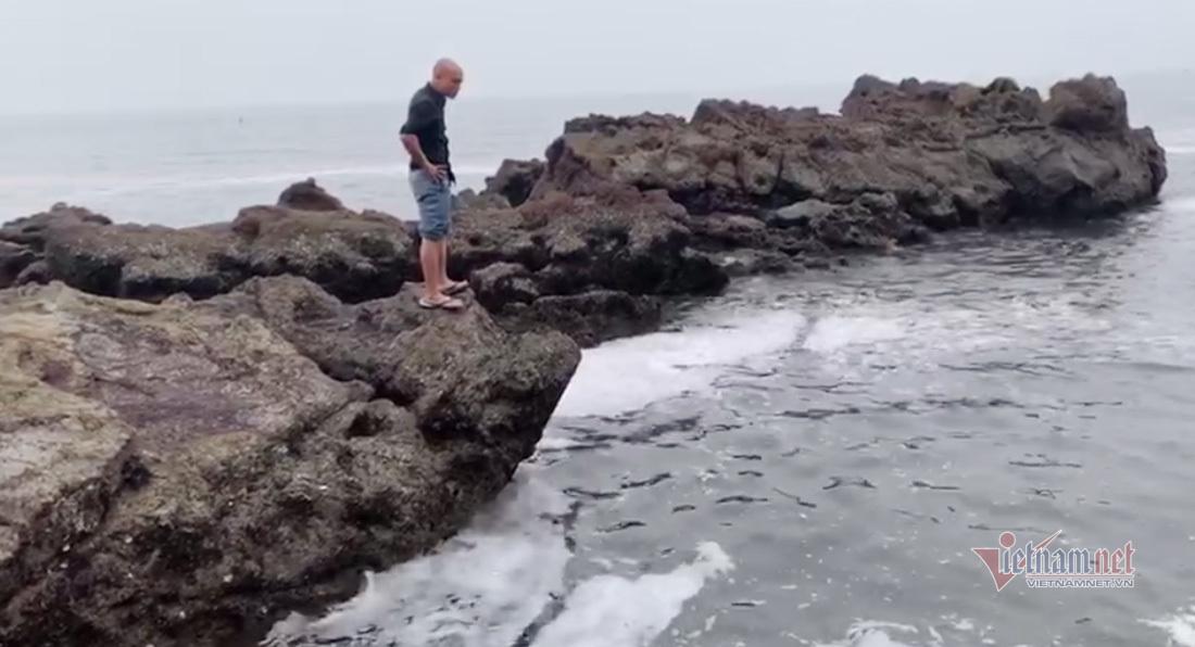 Anh Sơn đứng trên bờ quan sát con cá bơi ra xa ở vùng biển Nghệ An