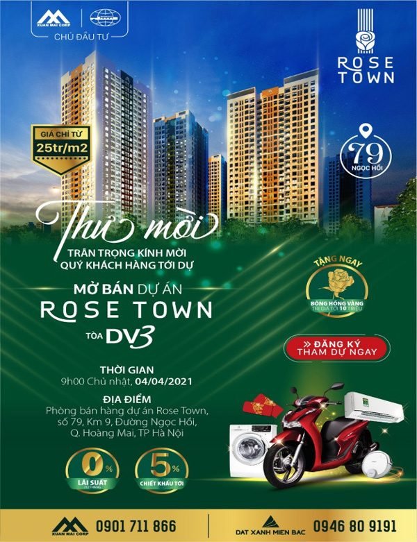Cơ hội nhận quà hấp dẫn khi mua căn hộ Rose Town