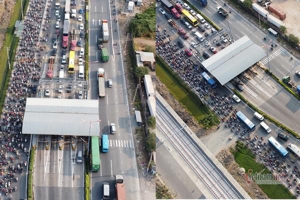 Ô tô, xe máy kín đặc trước trạm BOT xa lộ Hà Nội ngày đầu thu phí