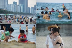 Da Nang beach jammed with tourists on weekends
