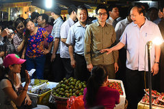 The politician who goes to wholesale market, wades in water to visit people