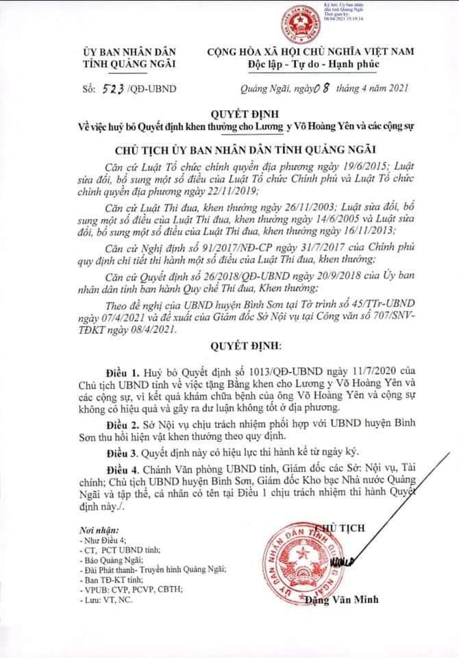 Quảng Ngãi hủy bỏ quyết định khen thưởng 'thần y' Võ Hoàng Yên
