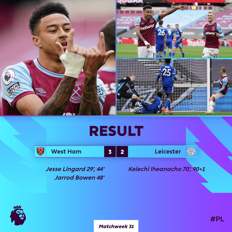Lingard lại bừng sáng, West Ham đả bại Leicester